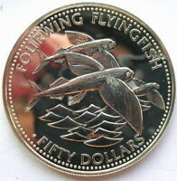 Barbados 1984 Flying Fish 50 Dollars Silver Coin,UNC