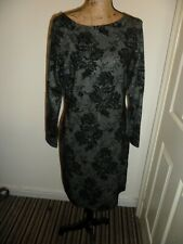 Next Ladies Wiggle dress Black & Gold Size 14 Ex Con