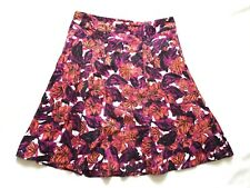 Wallis Size 16 Cotton Fully Lined Pink Floral A-Line Summer Skirt Beach Holiday