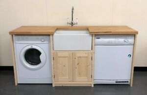 Pine Traditional Style Belfast Utility Unit - 192cm wide with Solid Oak Top