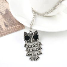 Charm Vintage SILVER Owl Pendant long Chain Sweater Necklace Jewelry Gift