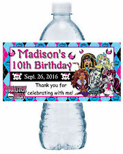 20 MONSTER HIGH BIRTHDAY PARTY FAVORS WATER BOTTLE LABELS ~ waterproof ink