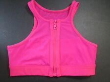 Women's C&C California Sport Zip Front Close Unlined Sports Bra SMALL Dark Pink