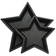 Set of 2 Rustic Black Nesting Pressed Wood Star Trays