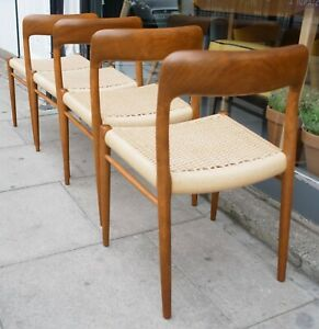 Four vintage 1970s Danish Moller 75 dining chairs with paper cord seats