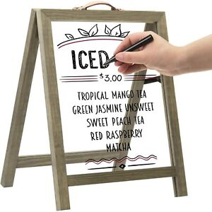 MyGift Clear Acrylic and Gray Wood Tabletop A Frame Display Message Board