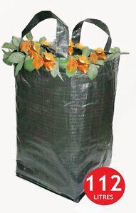 4 x Heavy Duty Green Woven Garden Waste Refuse Sack Bag 112 litres PP Woven