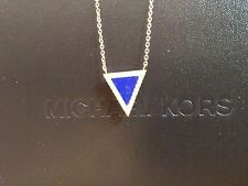 "Michael Kors Lapis and Pave CZ Triangle Pendant 16"" w/2"" extention NWT"