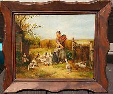 Johan Marie Ten Kate Original Vintage Oil Painting 19th century Geese chuldren