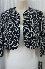 Jessica Howard Petite Bolero Sz 4P Navy Ivory 3/4 Sleeve Cocktail Evening Shrug