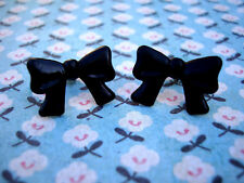 Funky Black Bow Earrings Cute Kitsch Retro Vintage Boho Chic Cool 50s Rockabilly