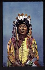 INDIEN Raphael TUCK  chef indien SHOOTING HAWK coiffe plumes