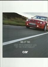 MG ZT 190 OFFICIAL ROAD TEST REPRINT 'SALES BROCHURE' DECEMBER 2001