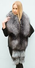 "Royal Saga Furs Silver Fox Fur Huge 86"" Shoulder Wrap Stole Boa Cuffs"