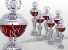 6er Pokalserie Pokale RED STARLIGHT mit Gravur günstige Pokale silber / rot