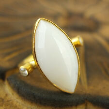Handmade Hammered Designer Marquise Opalite Ring 24K Gold Over Sterling Silver
