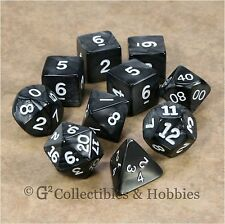 NEW 10 Pearlized Charcoal Black Polyhedral RPG Game Dice Set in Tube D&D D20 +