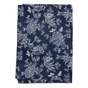 """Ralph Lauren CHRYSANTHEMUM FLOWER Floral Blue Rectangular Tablecloth 60""""x84"""""""