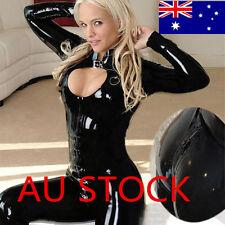 Hot Women Black Body Suit Long Sleeve Clubwear Catsuit Jumpsuit Leather Costumes