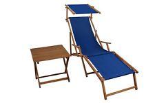 Relaxliege Bleu Transat pour Jardin Toit Ouvrant Table D'Appoint 10-307 pour S T