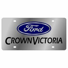 Stainless Steel Ford Crown Victoria Blue Mirror Black License Plate Frame