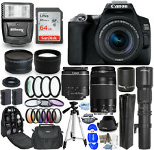 Canon EOS 250D / Rebel SL3 DSLR with 18-55mm + 500mm + 64GB + Flash Bundle