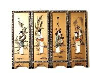Vintage Japanese Hand Painted 4-Panel Mother-of-Pearl Inlay