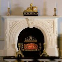 1/12 Scale Dolls House Emporium White Carved Stone Fireplace 7436