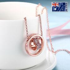 18K Rose GOLD Filled Solid Heart Ring Pendant Necklace With Swarovski Crystal