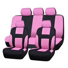 UNIVERSAL BLACK PINK CAR SEAT COVERS FOR CAR TRUCK SUV AIRBAG FULL SEAT CUSHION