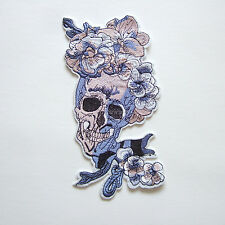 Large Skull Flower Iron On Patch Embroidered Applique