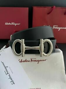 Salvatore Ferragamo Black Leather Men's Belt Parigi Silver Buckle PICK YOUR SIZE