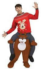 Carry Me On Your Shoulder Reindeer Adult Men Women Costume Christmas Ride On A