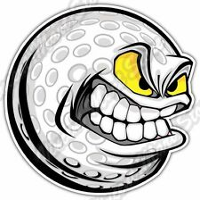 "Angry Smile Golf Ball Clubs Course Funny Car Bumper Vinyl Sticker Decal 4""X5"""