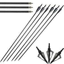 12X 31'' Archer Carbon Arrows & 100G Hunting Broadheads For Compound Recurve Bow
