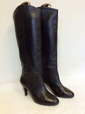 MARKS & SPENCER BLACK LEATHER KNEE HIGH BOOTS SIZE 4.5 /37.5