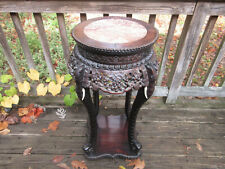Antique Carved Elephant trunk legs Marble top Wood Table 33