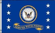 Us Navy Served With Pride Flag 3x5 ft Usn Vet Veteran Retired Gold Banner Navy