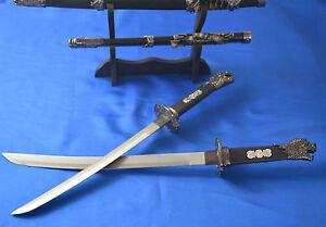 2X Brand New Black Japanese Sword  katana Dragon Handle with Knife Rack
