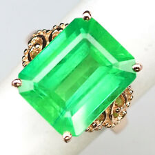 Emerald Green Ring Size 6 Octagon 15.80 Ct. 925 Sterling Silver Rose Gold Gift