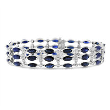 23.19 Ct. Natural Marquise Sapphire & Diamond Wide Bracelet Solid 14k White Gold