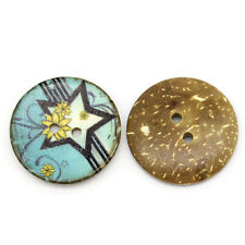6 Painted Star Coconut Shell Buttons 30mm, sewing, crafts, Art, Decor, Scrapbook