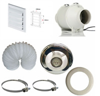 "Powerful Inline Bathroom Timer Fan with LED Light 4"" 100mm"