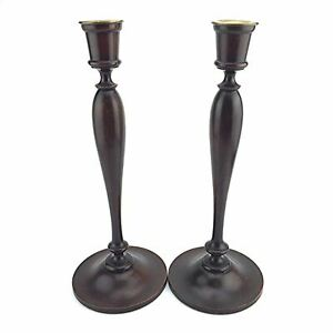 2 Tall Antique American Wooden Candlesticks Mahogany Taper Candle Holders 15in