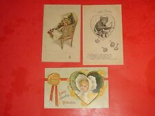 PCG236 Vntage LOT 3 Valentines Day Postcards Cupid Bear Girl Bonnet Wicker Chair