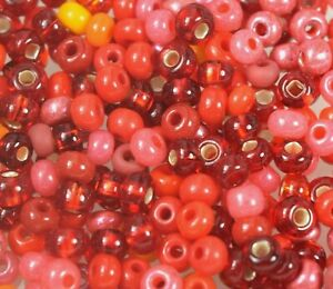 """Czech Glass Seed Beads Size 6/0 """" MIXTURE REDDISH """" Loose 50 Grams"""