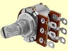 1 pc. Poti Potentiometer logarithmisch stereo 500K 63mW Achslänge: 9mm Lötpins
