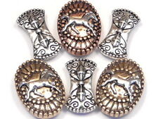 6 - 2 HOLE SLIDER BEADS TRI COLOR ORNATE OVAL HORSE & CONCAVE SWIRLED SPACERS