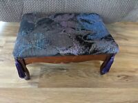 Vintage Wooden Padded With Fringes Foot Stool Ottoman