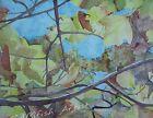 """Looking Up"" Original Watercolor Painting RAMfish Artist Fall Leaves Foliage Sky"